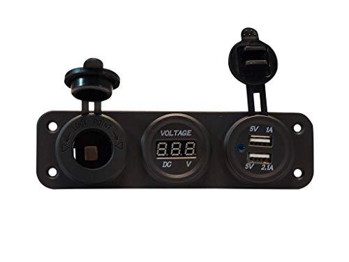 Five Oceans 12V DC Dual Socket USB & Voltmeter Panel FO-3849-1
