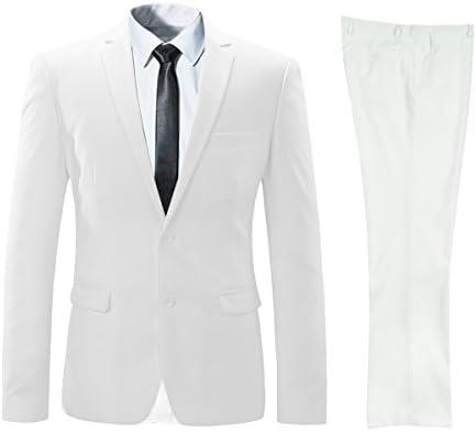ビジネススーツ 上下セットスーツ 2つボダン 光沢あり立体裁断 ウォッシャブル 防シワ メンズ ホワイト S