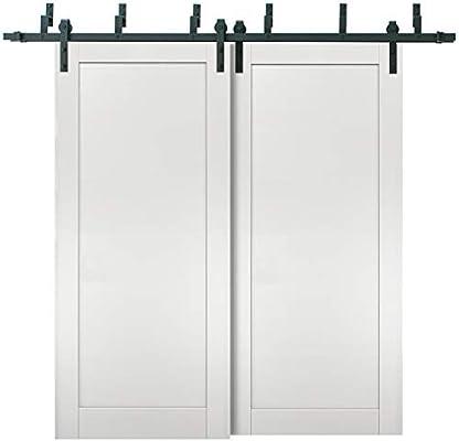 Puertas correderas de granero con herrajes de 2 m | Quadro 4111 blanco ceniza | Kit de rieles resistentes de acero | Puerta doble deslizante: Amazon.es: Bricolaje y herramientas