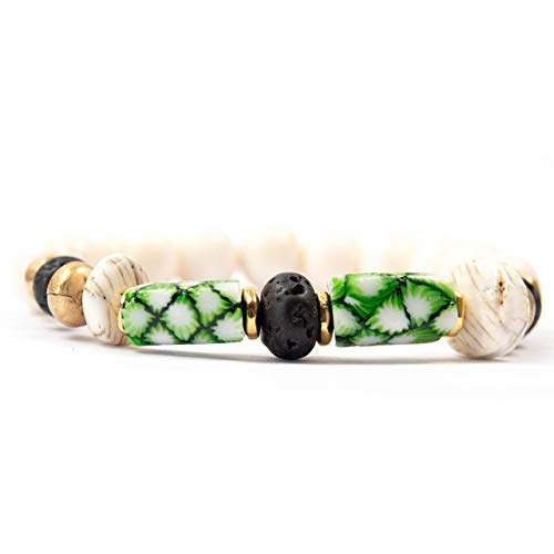 Black/Green Antique Venetian Millefiori Bead Bracelet with Lava Stone - 7 Inches Long Handmade African Trade Bead Bracelet by Miller Mae Designs