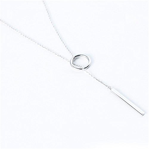 Y Type Open Circle Layering Karma Dangling Charming Dainty Skinny Drop Clavicle (15mm Box Chain Necklace)