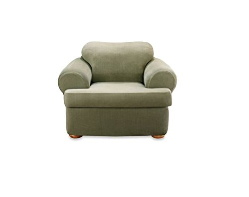 Sure Fit Stretch Stripe 2-Piece - Chair Slipcover  - Sage (SF37729) (Chair Sage Arm Upholstery)