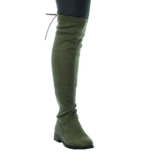 Donna 3 Da Cavalier Scarponi Stivali A Biker Scarpe Angkorly Cm Tacco Flessibile Merletto Blocco Verde Moda HqnO8