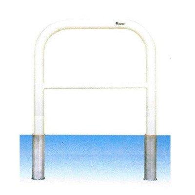 安全サイン8 車止め ゲートタイプ ガードパイプ 横桟付 鉄製 差込式 φ60.5×W700×H650mm F6B-7S カラー:白色   B075SPFH1L