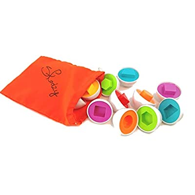 Skoolzy Egg Toy - Shapes Matching Eggs STEM Toddler Toys for 1, 2, 3, 4 Year olds - Learning Colors Preschool Puzzles Games - Montessori Fine Motor Skills Sorting Educational Easter Eggs with Bag: Toys & Games