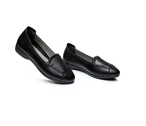 Casual XZGC Suave Negro Planos con Zapatos Primavera Zapatos Cuero de 4qf04vnr