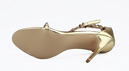 Sandals Women's T Chains Gold TDA Stiletto strap Sexy Evening Dress Sumber Party Sheepskin PdOO4q