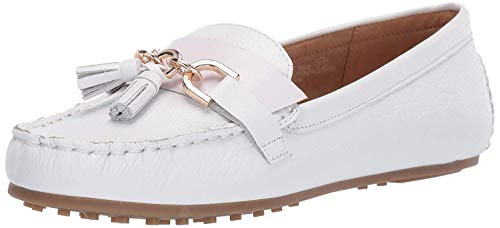 Aerosoles - Women's Soft Drive Loafer - Leather Round Toe Penny Style Walking Flat with Memory Foam Footbed (9M - White Leather)