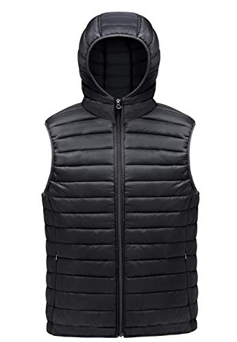 MADHERO Men Puffer Vest Lightweight Sleeveless Jacket Packable Puffy Hooded Black M ()