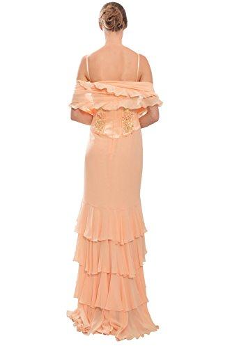Escada Beaded Peach Ruffle Evening Gown Dress
