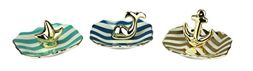 Fancy That Set of 3 Nautical Theme Ceramic Jewelry/Ring - Gifts Inch Ring 3 Holder