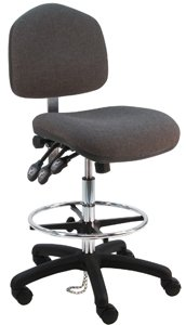 (Deluxe Fabric Ergonomic ESD Anti Static Wide Chair/Stool with Nylon Base and Footring, 450 lbs Capacity, 21.5