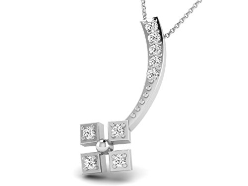 Or Blanc 18 ct Pendentifs Diamant , 0.04 Ct Diamant, GH-SI, 0.46 grammes.