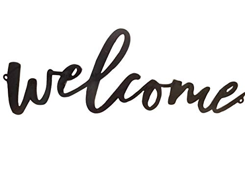AT Industrial Metal Script Word Wall Sign Decor (Welcome)
