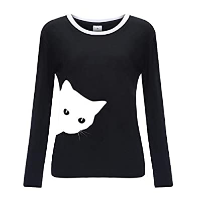 OTTATAT Casual Pullover for Women, 2020 Spring Autumn Ladies Crewneck Stylish Solid Print Loose Comfort Long Sleeves at Women's Clothing store