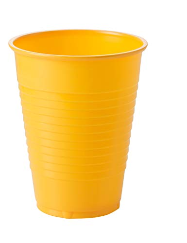 Exquisite 12 oz Yellow Plastic Cups II 50 Count Bulk Pack Disposable Party Cups II Premium Quality Plastic Tumblers for Parties
