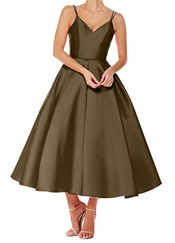 Damen Ballkleider V Brautjungfernkleider Linie A Wadenlang Rock Kurz Ausschnitt Braun Charmant Festlichkleider Abendkleider dXTqdH