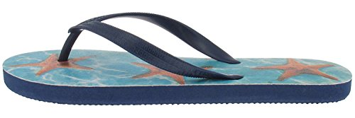 Capelli New York Textured Opaque Jelly Thong with Star Fish Photo Ladies Flip Flops Blue Combo VblDod