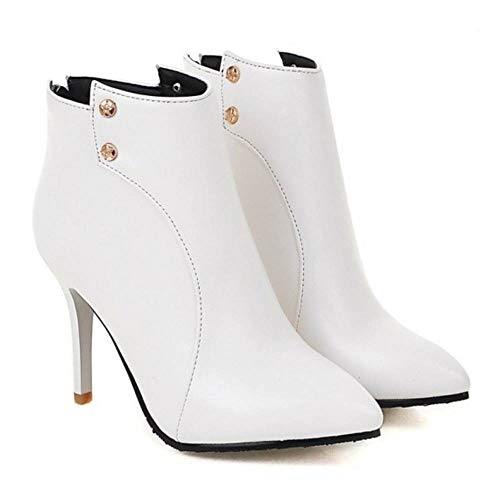 8 Moda Stivaletti Bianco RAZAMAZA Alto Tacco Donna 4FTBHT