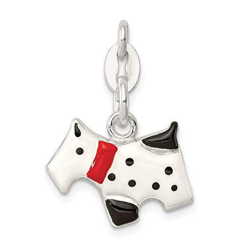 Cat Collars Swarovski (925 Sterling Silver Enameled Scottie Dog Pendant Charm Necklace Animal Fine Jewelry For Women Gift Set)