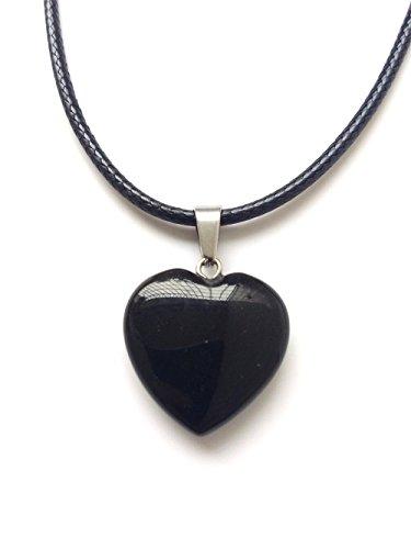 AIMITH Heart Shape Love Pendant Onyx Crystal Gemstone Rock Stone Chakra Necklace Jewelry (Black Onyx)