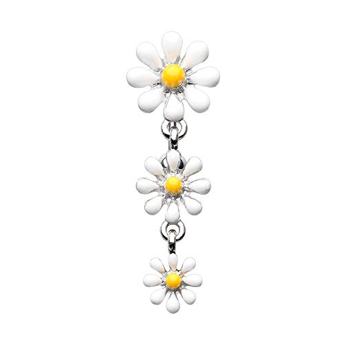 - 14 GA Reversible One Daisy at a Time Belly Button Ring 316L Surgical Stainless Steel Body Piercing Jewelry For Men and Women Davana Enterprises