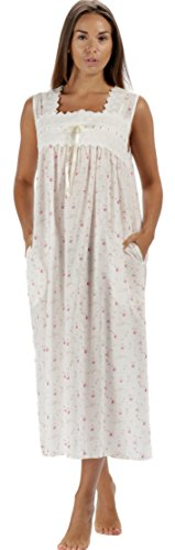 The 1 for U Laura Sleeveless Nightgown 100% Cotton Womens Nightie (Large, Vintage Rose)
