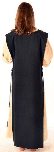 mit Kleid Beige Baumwolle Leinenstruktur HEMAD XL naturbeige Mittelalter mit S Schwarz Skapulier reine Damen 7AqwZAf