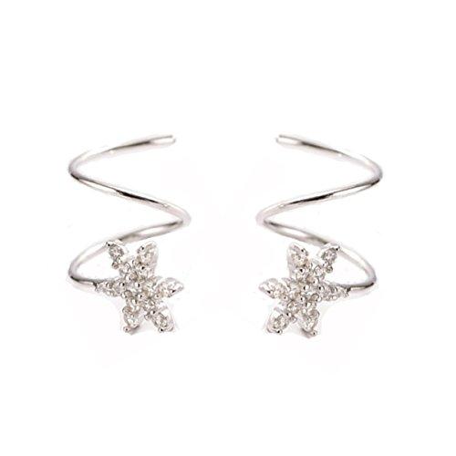 FarryDream 925 Sterling Silver Star Earrings for Women Teen Girls Fashion Wrap Earrings (Snowflake Wraps)