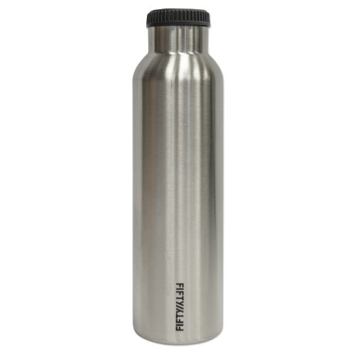 24 Ounce Insulated Water (Lifeline 7506 Silver Stainless Steel Vacuum Insulated Double Wall Bottle - 24 oz.)