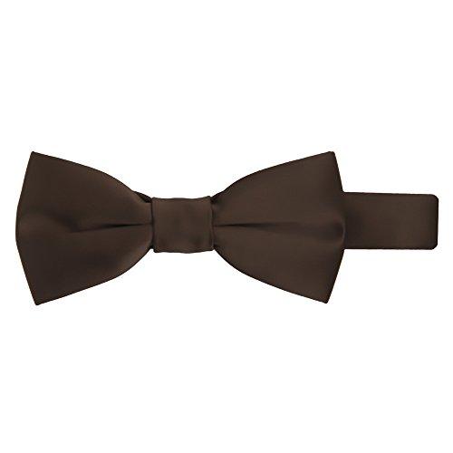 Jacob Alexander Boy's Kids Pretied Banded Adjustable Solid Color Bowtie - Brown