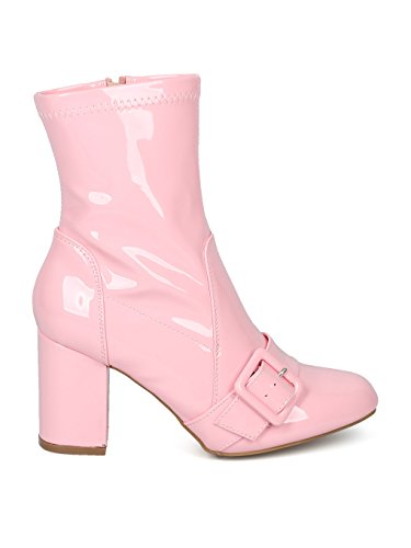 Baby Belted Women Leatherette HF34 Round Bootie Block Patent Pink Heel Toe Alrisco Patent qv4XOXT
