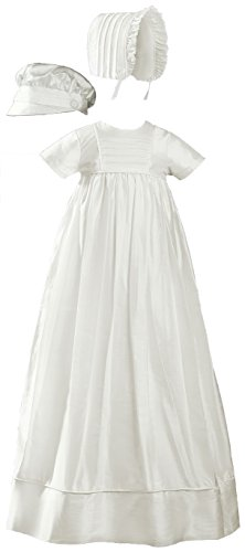 - Short Sleeve Silk Dupioni Christening Baptism Family Gown, 06 Month