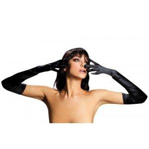 Seven Til Midnight Women's Satin Opera Length Gloves, Black, One Size (Plus Black Gloves)