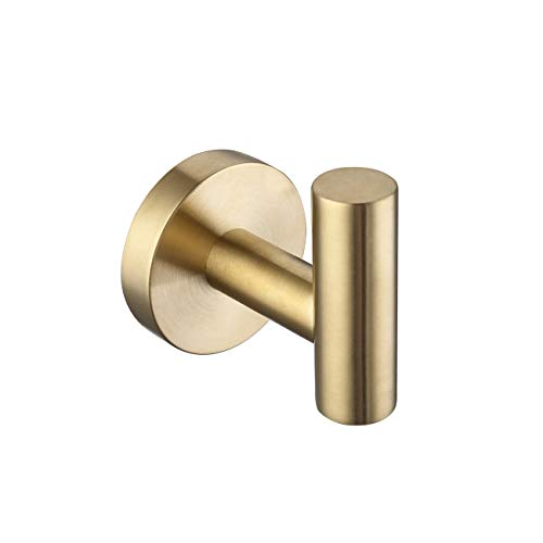 KES Bathroom Lavatory Wall Mount Single Coat and Robe Hook, Brushed Gold SUS304 Stainless Steel, A2164-BZ