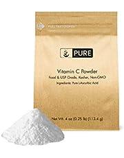 Vitamin C Powder (4 oz.) by Pure Organic Ingredients, Eco-Friendly Packaging, L-Ascorbic Acid, Antioxidant, Boost Immune System, DIY Skin Care