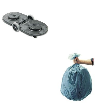 KITRCP264600BLARCP501188GRA - Value Kit - Rubbermaid Tandem Dolly (RCP264600BLA) and Rubbermaid 5011-88 Tuffmade Polyliner Low-Density Can Liners, 55 Gallons (RCP501188GRA)