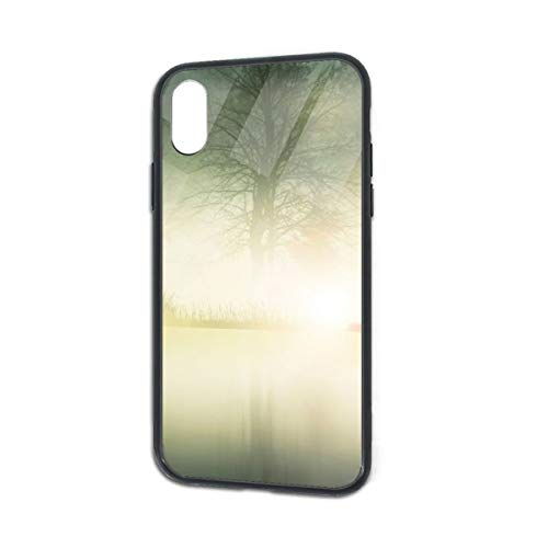 HengZhe iPhone Xs/X Case Nature Deer TPU Ultra-Thin Slim Soft Silicone Cover Tempered Glass Back Cover Anti-Fall Protection 5.8 Inch