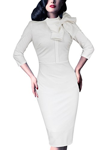 VfEmage Women's Celebrity Vintage Bowknot Party Cocktail Stretch Bodycon Dress 469 WHT 16