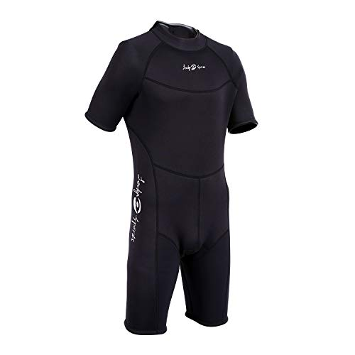 Men's Shorty 3 MM Wetsuit,Backzip Surf Suit Jumpsuit for Scuba Diving, Snorkeling,Surfing and Other Water Sports with Adjustable Collar (Medium) (Shorty Scuba Diving Equipment)
