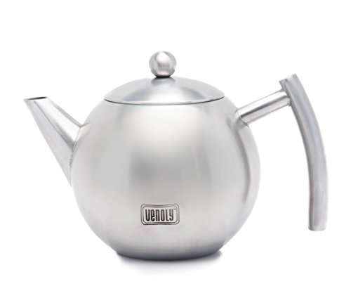 Venoly Stainless Steel Tea Pot With Removable Infuser For Loose Leaf and Tea Bags, Dishwasher Safe and Heat Resistant, 1 Liter -