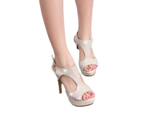 Gloednieuwe Mode Strass Vrouwen Platform Hoge Hakken Peep Toe Sandalen Schoenen Beige