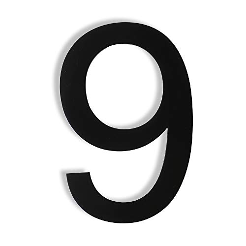 Mellewell Floating House Numbers 5 Inch Stainless Steel 18-8, Comtemporary Style Black, Number 9 Nine, HN05HB-9