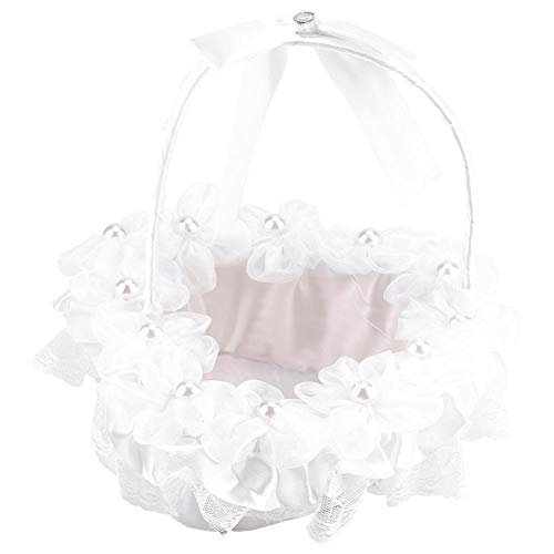 GLOGLOW White Flower Girl Basket Sweet Romantic Wedding Handmade Lace Basket Classic Ceremony Accessories Supplies ()