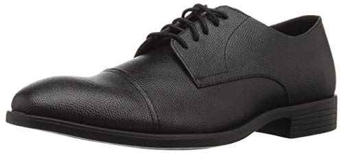 Calvin Klein Men's Conner Small Tumbled Leather Oxford, Black, 7.5 M M US