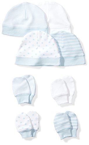 Moon and Back Baby Set of 4 Organic Cap and Mitten Sets, Blue Sky, 0-6 Months
