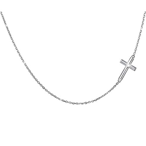 S925 Sterling Silver Jewelry Sideways Cross Choker Necklace 14 inches to 18 inches (Women Sterling Silver For Jewelry)