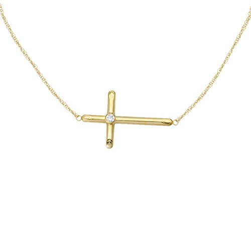 Stone Bezel Yellow Cross (Sterling Silver Sideways Cross Pendant Necklace With Zircon-Gemstone 18'' (Yellow Gold Plated))