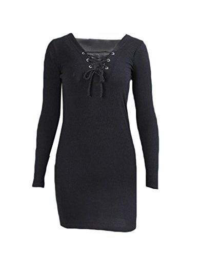 Long Women's Coolred Bodycon Black Neck V Short Solid Sleeve Dress pwqqxd5T