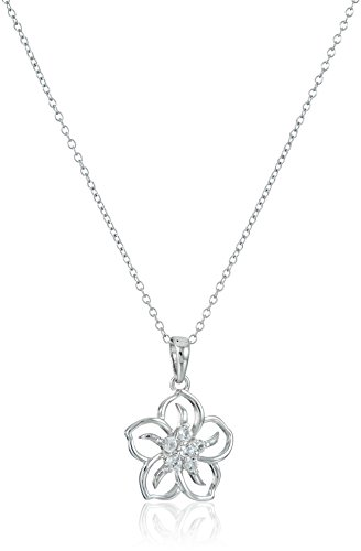 (Sterling Silver Created White Sapphire Flower Pendant Necklace, 18